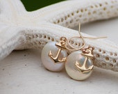 Anchor Nautical Gold Earrings with Coin Pearls