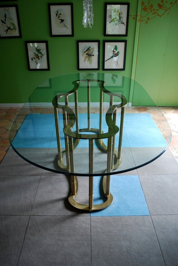 Hold for shannon 70 39 s glam brass glass dining by ubercasa for Glam dining table