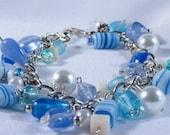 Beach Inspired Blue Tone Bead and Chain Bracelet