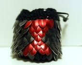 Dungeons and Dragons DnD black widow knitted dragon scale dice bag with leather draw string - smaller size