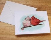 HALF PRICE SALE - Illustrated Bird Greetings or Valentines Card - Two Birds - Pink Red Blue - 50% off