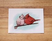 HALF PRICE SALE - Pink Red and Blue - Two Birds Illustration Art Postcard Print - 50% off