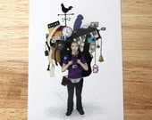 HALF PRICE SALE - Art Postcard Illustration Print - The Weight of Technology (Phone Apps) - 50% off