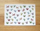 HALF PRICE SALE - Patterned Origami Cranes Postcard Print - 50% off