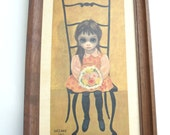 Big Sad Eyed Walter Keane Print- Waiting for Grandma 1962