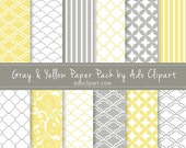 Yellow and Gray Digital Scrapbook Paper Pack - Scrapbooking Papers pattern background