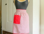 Vintage Red Posy Apron with Red Pocket and trim