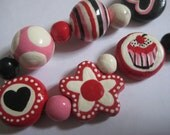 HAND SCULPTED & PAINTED Stoneware Necklace Kiln Fired Clay Pottery Cupcake Shop Beads Whimsical Fun Pink Red White Black Ooak