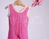 Organic baby girl short overall and booties 6-9 months - ready to ship