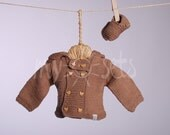 Hand knitted organic baby set of brown hooded cardigan and booties