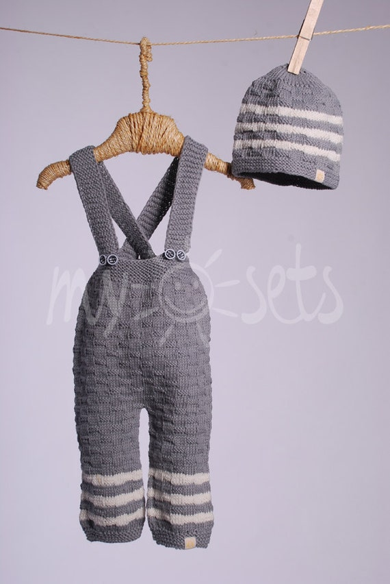 Organic baby set of pants and beanie hat 3-6 months - ready to ship