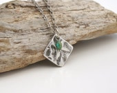 RUSTIC GEOMETRIC Silver Textured Pendant Necklace by Cheydrea