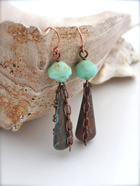 BEACH JEWERY, Rustic Turquoise Metal and Chain Drop Earrings, handmade earrings, rustic earrings, statement earrings by Cheydrea