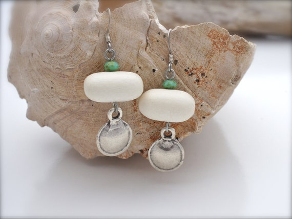 RUSTIC BEACH JEWELRY Ivory, Turquoise and Silver Drop Earrings by Cheydrea