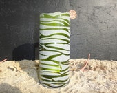Wine bottle luminary candle - abstract stripes