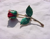 A Single Red Rose Romantic Vintage Goldtone Brooch