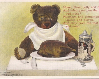 Fred L Cavally Teddy Bear Very Vintage Postcard