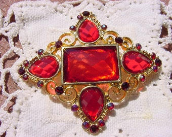 Ruby Red Golden Curliques Vintage Rhinestone Brooch