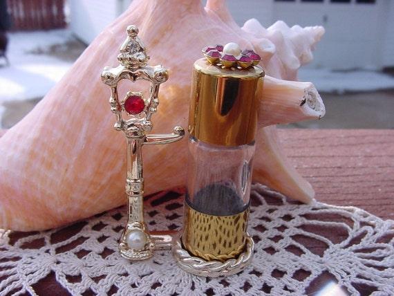 Golden Pearl & Rhinestone Lamp Post Vintage Mini Perfume