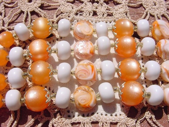Orange Creamsicle Vintage Bead Lovers Dream Necklace