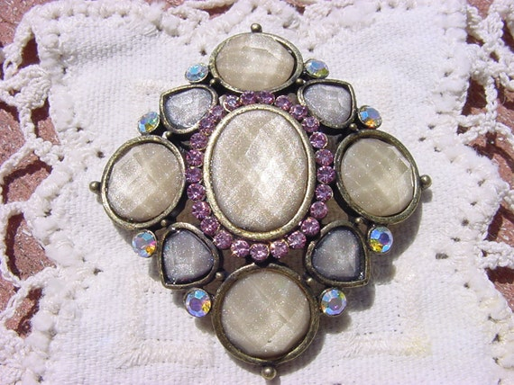 Vintage Rhinestone Brooch with Ivory Shimmer Diamond Facets