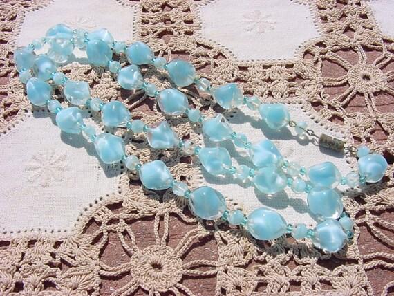 Vintage Sky Blue Givre Art Glass NOS West German Necklace