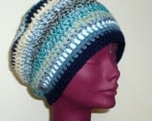 Crochet Beanie Hat Unisex Blue Stripes