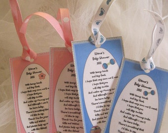 Baby Shower Favors -Set of 36 -Personalized Book Marks