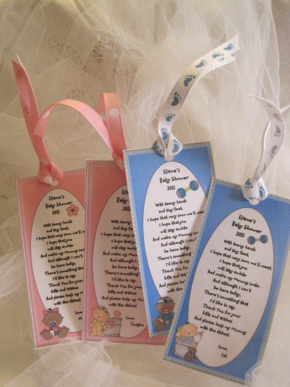 Baby Shower Favors -Set of 12 -Personalized Book Marks