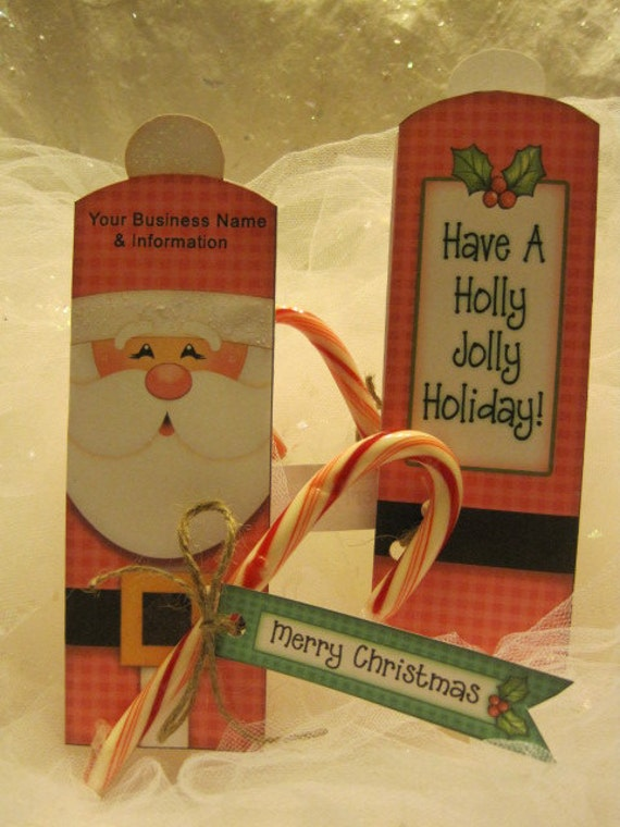 Personalized Christmas Santa Candy /Pencil Favor-Set of 12