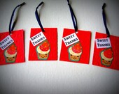 """Paper and Ribbon Thank You Tags- 12  Piece Set - """"Sweet Thanks""""- FREE U.S Shipping"""