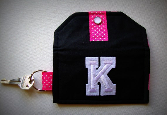"""Clearance- Mini Wallets (Card & Cash Holder/ Key Fob) """"Personalized with Letter K""""- Animal Print- Pink Zebra- FREE U.S Shipping"""