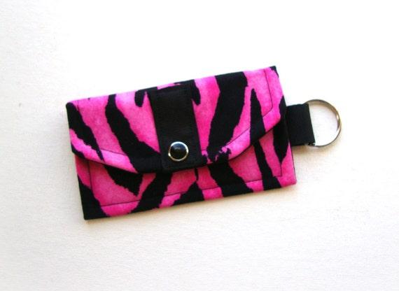Mini Wallet Key Fob (Cash/Card Holder)- Business Card Holder- Key Chain - Hot Pink Zebra Print- Animal Print Accessory- FREE U.S Shipping