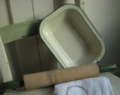 Vintage Enamel Ware Cream and Green Baking Pan and Rolling Pin  ca 1930s