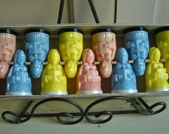 Vintage Individual Salt and Pepper Shakers  Carolers - Boxed set of 6