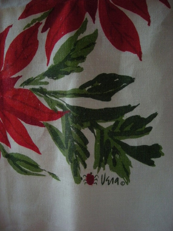 Vintage Vera Poinsettias Tablecloth and 4 Napkins for CHRISTMAS in July