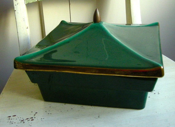 Retro Glossy Green Ceramic Covered Square Bowl or Serving Piece