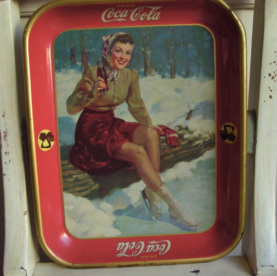 Vintage Coca-Cola Serving Tray Ice Skater Girl by ...