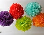 Tissue Paper Pom Poms - Set of 7- Pick Your Colors