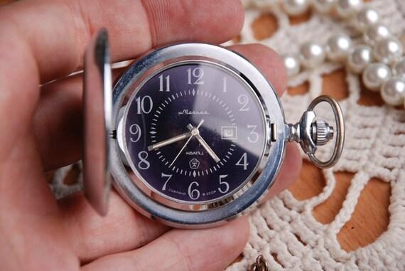 RARE - MolnijA - Vintage Russian Soviet Full Hunter Pocket Quartz Watch USSR