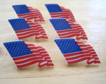 US American Flag Craft Novelty Embellishment Buttons Lot of 11