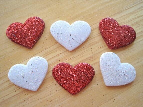 Glitter Hearts Craft Novelty Embellishment Buttons