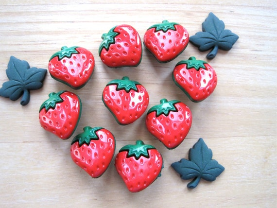 Strawberry Novelty Craft Embellishment Buttons
