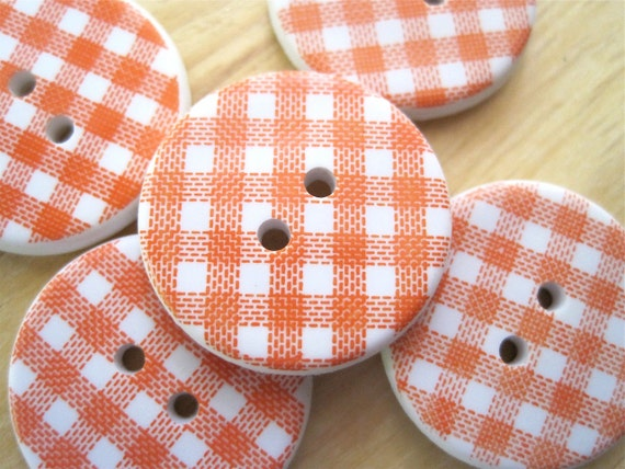 Orange Plaid Sewing Craft Buttons