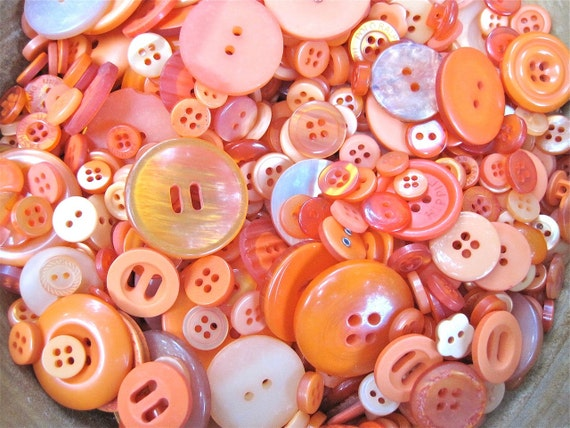Shades of Orange Buttons Lot of 100