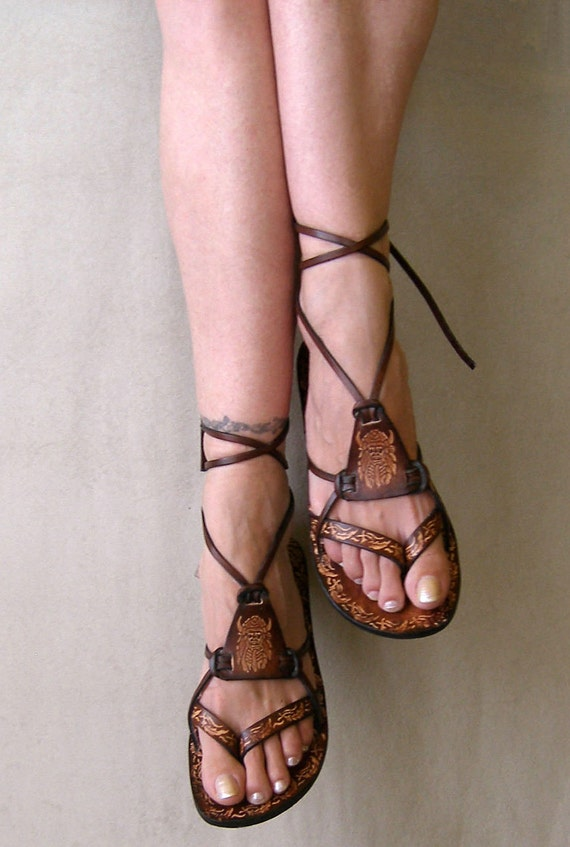 Brown Burnished Leather Lace Up Handmade Flat Sandals With Design - Fantasy II