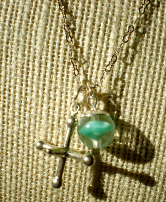 Nostalgia Necklace Sterling Silver Jack and Glass Marble Necklace