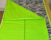 Zebra print lazy mat, may also be ordered with Hot Pink blanket and binding