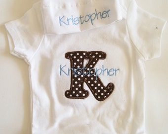 Personalized Onesie and Tie Top Baby Hat Gift Set