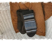 Upcycled Blue Stripey Sweater Mittens Large
